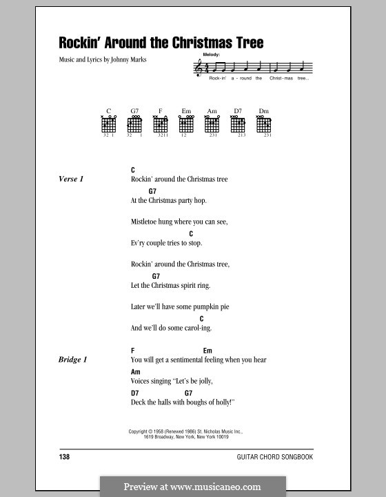 Rockin' Around the Christmas Tree: Lyrics and chords (with chord boxes) by Johnny Marks