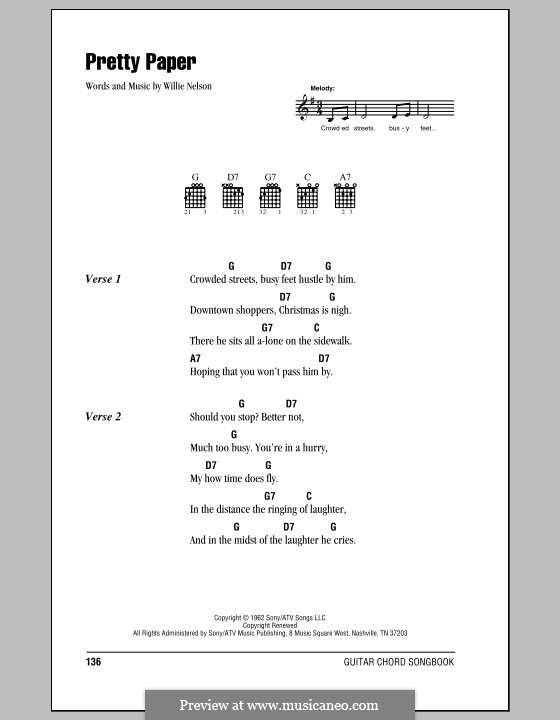 Pretty Paper: Lyrics and chords (with chord boxes) by Willie Nelson