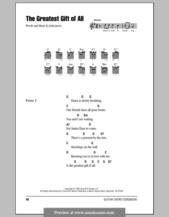 The Greatest Gift of All (Kenny Rogers and Dolly Parton): Lyrics and chords (with chord boxes) by John Jarvis