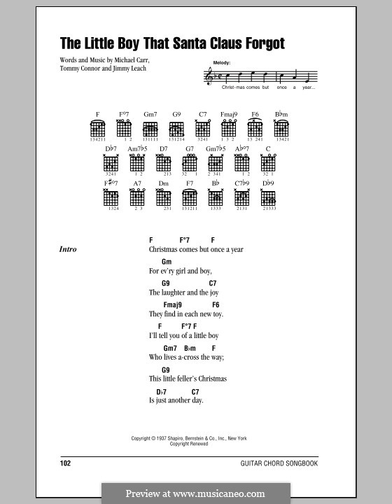 The Little Boy That Santa Claus Forgot: Lyrics and chords (with chord boxes) by Jimmy Leach, Michael Carr, Tommie Connor