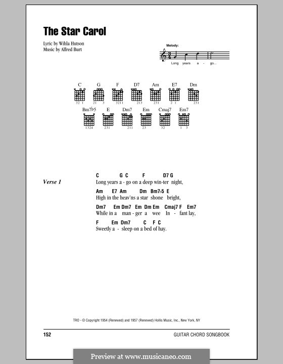The Star Carol: Lyrics and chords (with chord boxes) by Alfred Burt