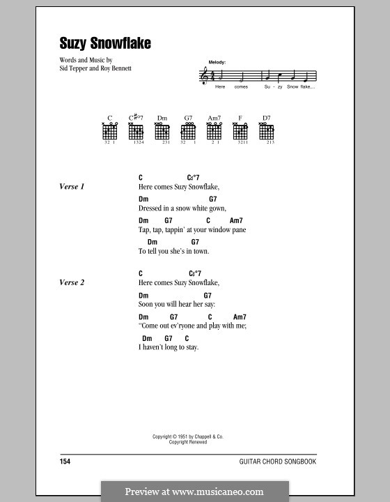 Suzy Snowflake (Rosemary Clooney): Lyrics and chords (with chord boxes) by Roy C. Bennett, Sid Tepper