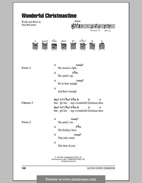 Wonderful Christmastime: Lyrics and chords (with chord boxes) by Paul McCartney