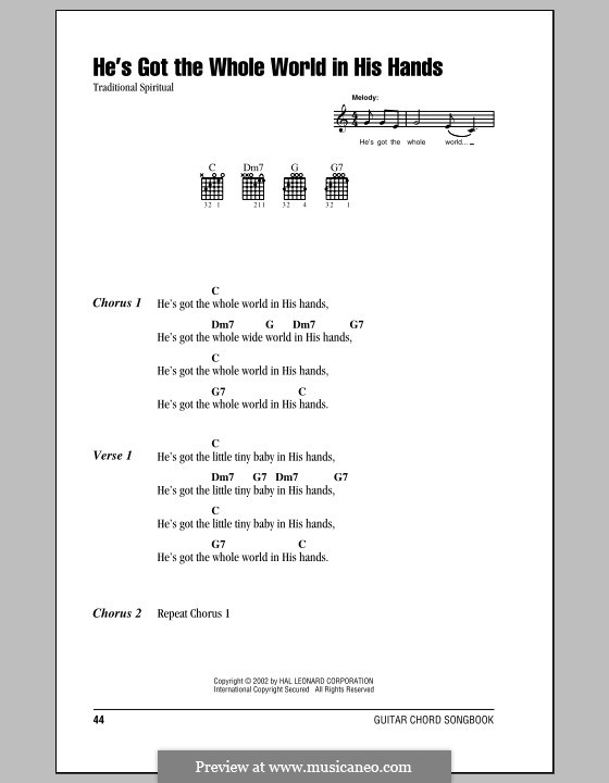 He's Got the Whole World in His Hands: Lyrics and chords (with chord boxes) by folklore