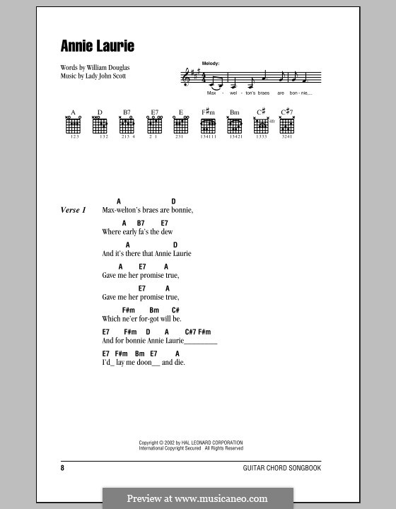 Annie Laurie: Lyrics and chords (with chord boxes) by Lady John Scott
