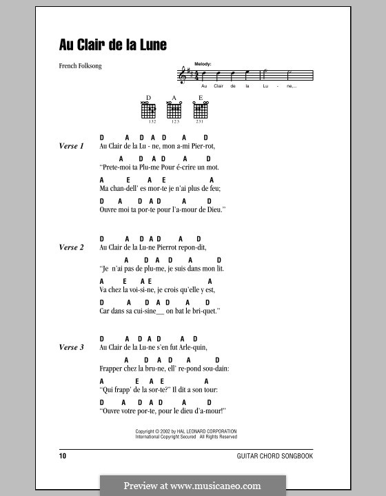 Au Claire de la Lune: Lyrics and chords (with chord boxes) by folklore