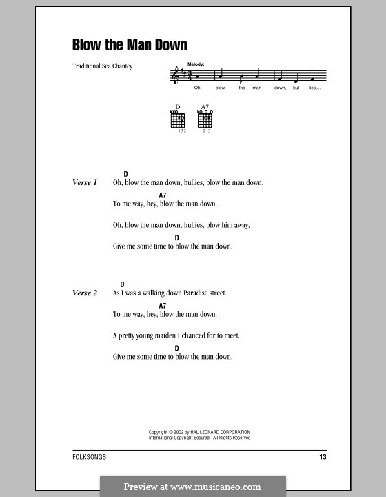 Blow the Man Down: Lyrics and chords (with chord boxes) by folklore