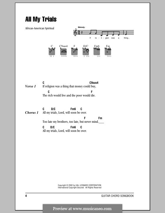 All My Trials: Lyrics and chords (with chord boxes) by folklore