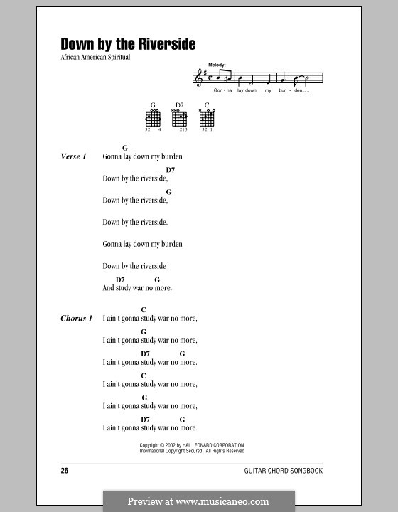 Down By the Riverside: Lyrics and chords (with chord boxes) by folklore