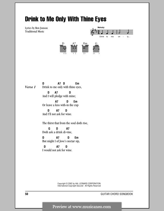 Drink to Me Only with Thine Eyes: Lyrics and chords (with chord boxes) by folklore