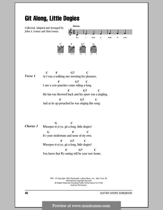 Git Along, Little Dogies: Lyrics and chords (with chord boxes) by Alan Lomax
