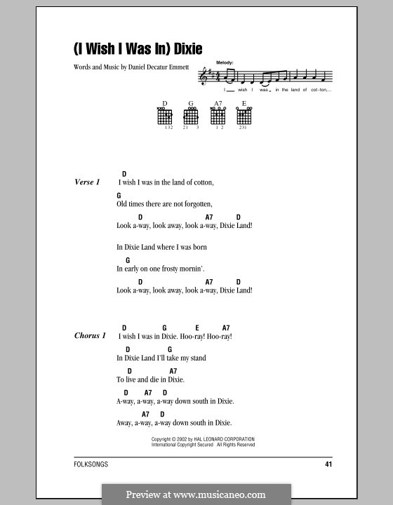 Dixie: Lyrics and chords (with chord boxes) by Daniel Decatur Emmett