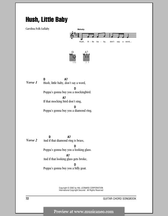 Hush Little Baby: Lyrics and chords (with chord boxes) by folklore