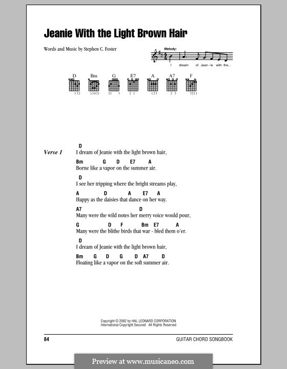Jeanie with the Light Brown Hair: Lyrics and chords (with chord boxes) by Stephen Collins Foster