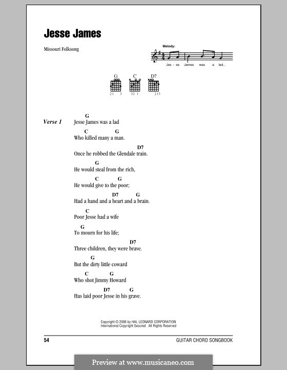 Jesse James: Lyrics and chords (with chord boxes) by folklore