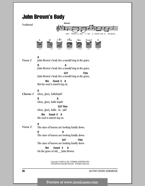 John Brown's Body: Lyrics and chords (with chord boxes) by folklore