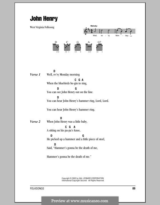 John Henry: Lyrics and chords by folklore