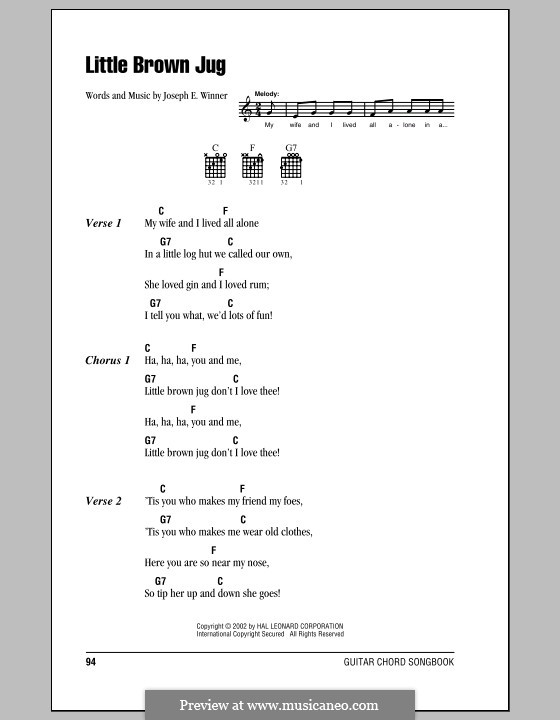 Little Brown Jug: Lyrics and chords (with chord boxes) by Joseph Eastburn Winner