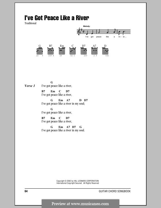 I've Got Peace Like a River: Lyrics and chords (with chord boxes) by folklore