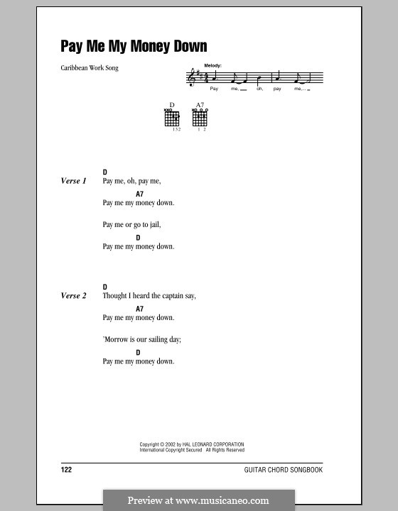 Pay Me My Money Down: Lyrics and chords (with chord boxes) by folklore