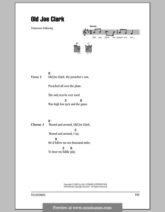 Old Joe Clark: Lyrics and chords (with chord boxes) by folklore