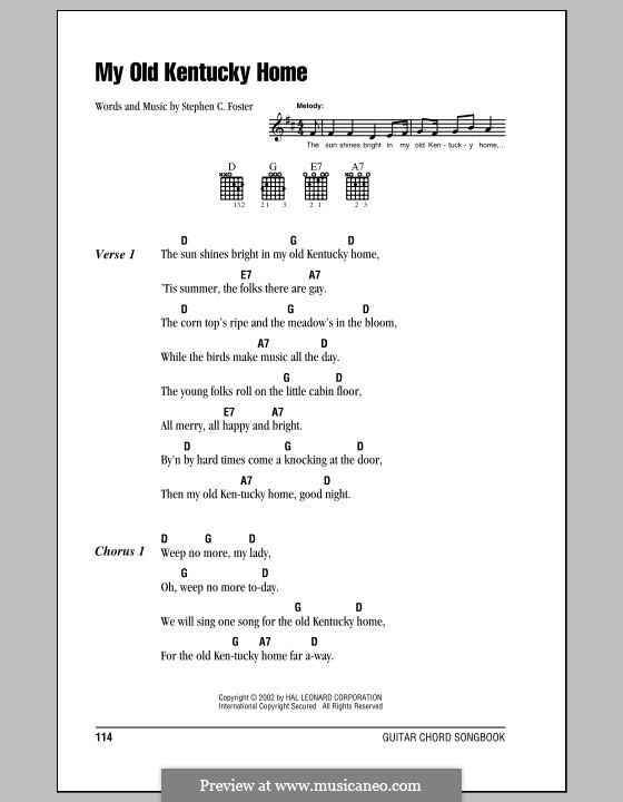 My Old Kentucky Home Good-Night: Lyrics and chords (with chord boxes) by Stephen Collins Foster