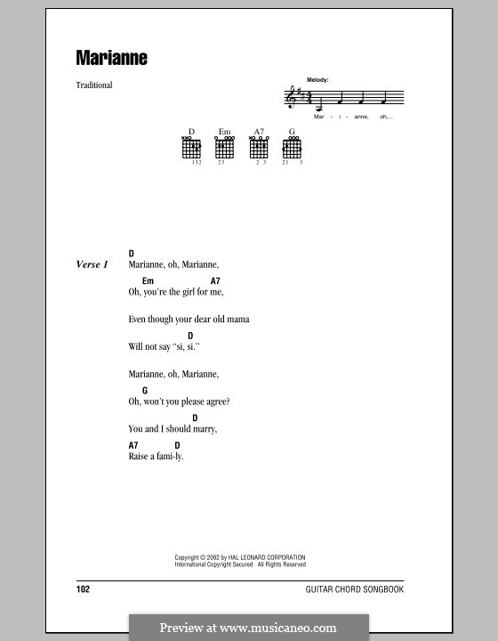 Marianne: Lyrics and chords (with chord boxes) by folklore