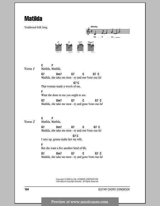 Matilda: Lyrics and chords (with chord boxes) by folklore