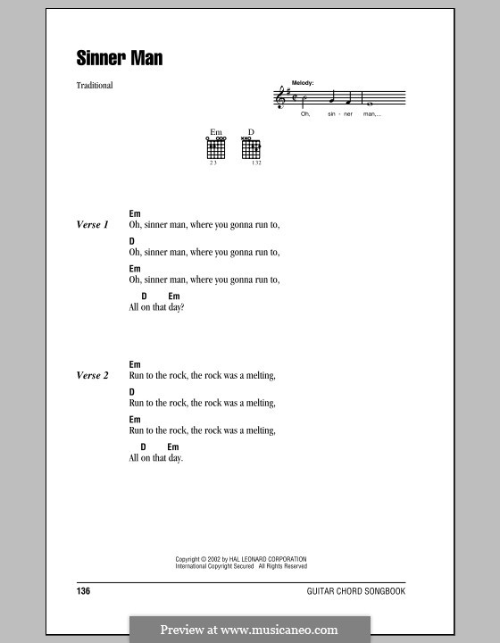 Sinner Man: Lyrics and chords (with chord boxes) by folklore