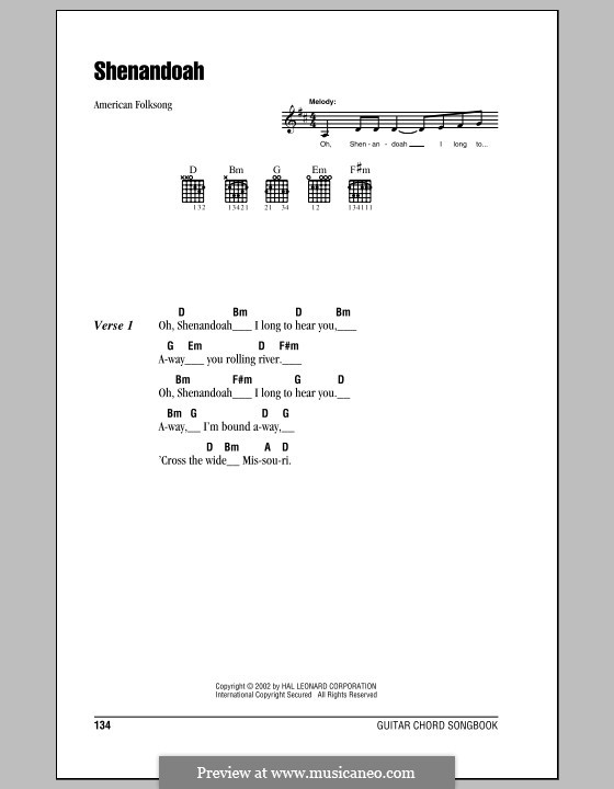Shenandoah: Lyrics and chords (with chord boxes) by folklore