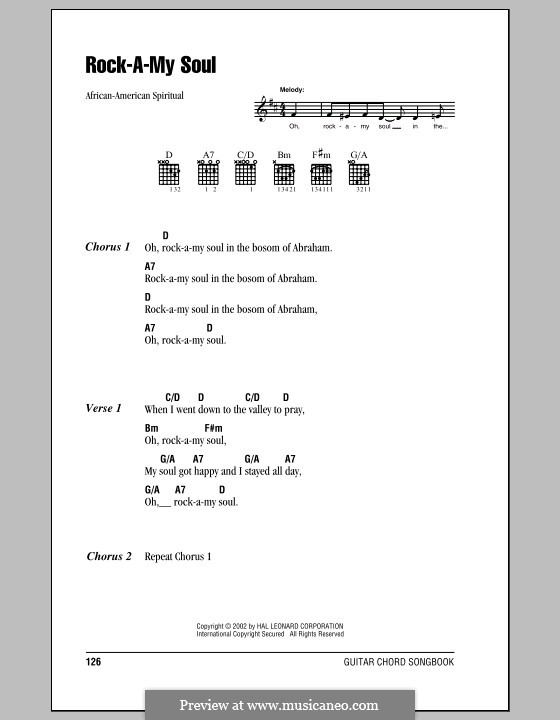 Rock-A-My-Soul: Lyrics and chords by folklore