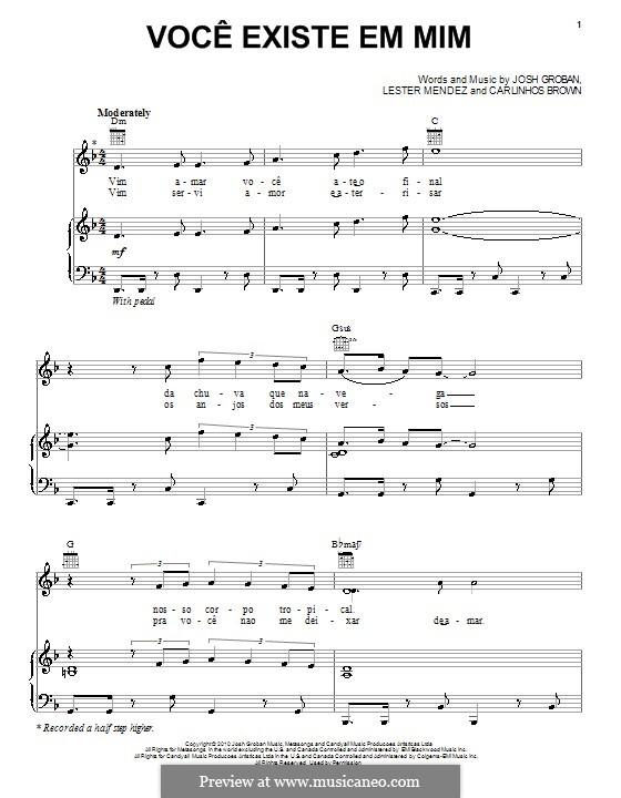Voce existe em mim: For voice and piano (or guitar) by Carlinhos Brown, Lester A. Mendez