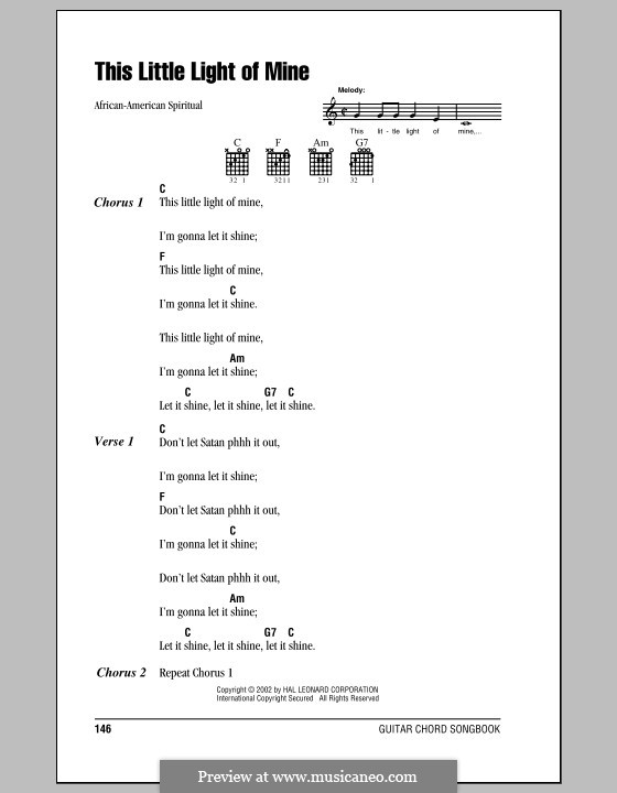 This Little Light of Mine: Lyrics and chords (with chord boxes) by folklore