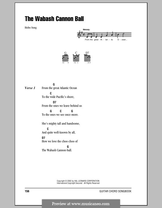 Wabash Cannonball: Lyrics and chords (with chord boxes) by folklore