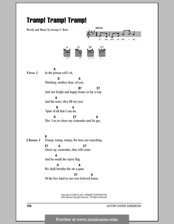 Tramp! Tramp! Tramp! (The Prisoner's Hope): Lyrics and chords (with chord boxes) by George Frederick Root