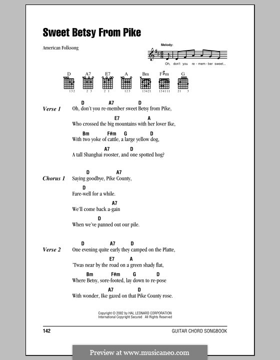 Sweet Betsy from Pike: Lyrics and chords (with chord boxes) by folklore