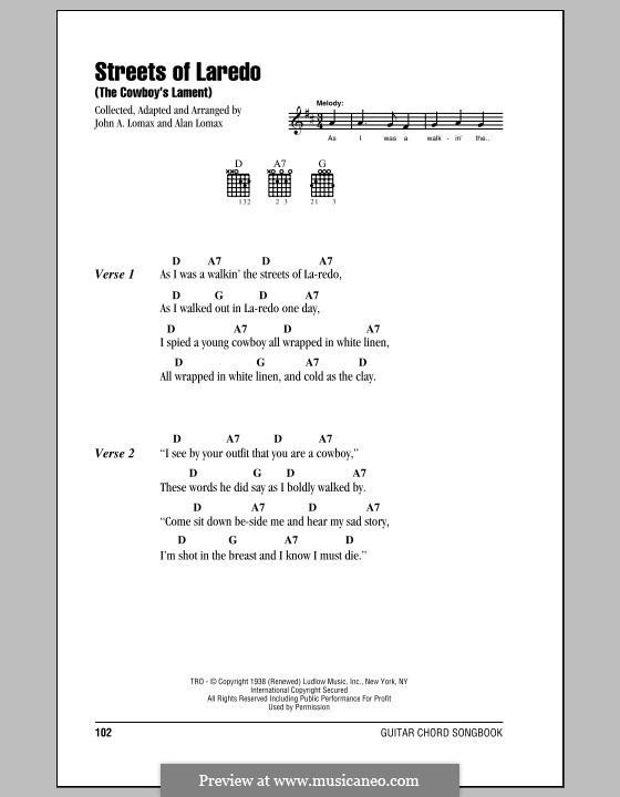 The Streets of Laredo: Lyrics and chords (with chord boxes) by folklore