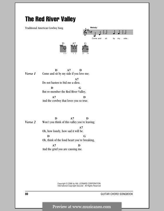 The Red River Valley: Lyrics and chords (with chord boxes) by folklore