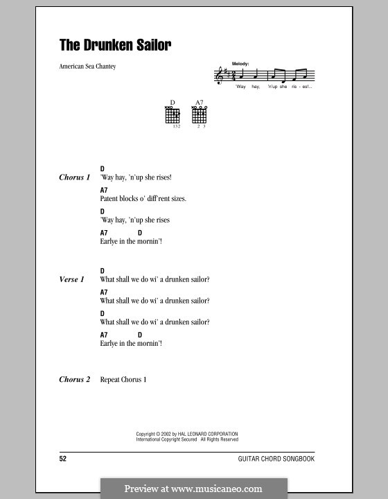 What Shall We Do with the Drunken Sailor: Lyrics and chords (with chord boxes) by folklore