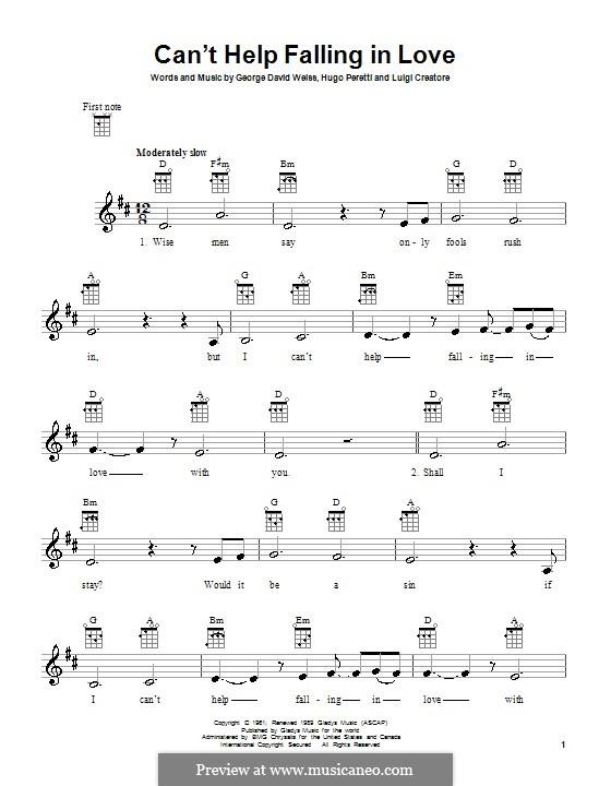 Can't Help Falling in Love: For ukulele by George David Weiss, Hugo Peretti, Luigi Creatore