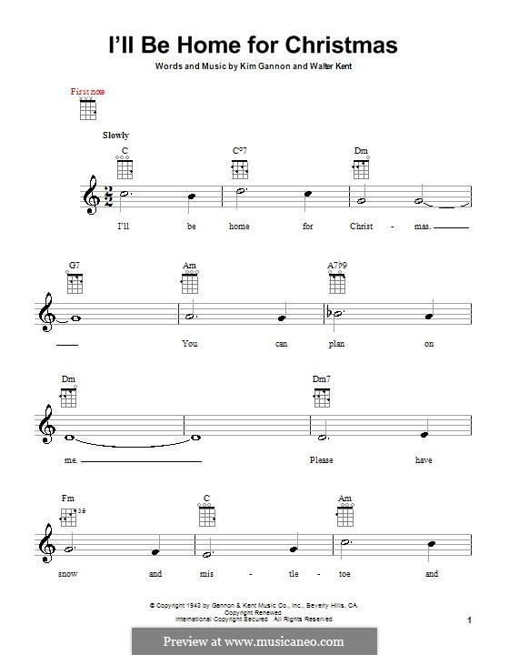 I'll Be Home for Christmas: For ukulele by Kim Gannon, Walter Kent