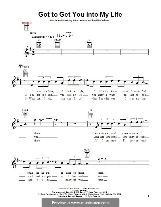 Got To Get You Into My Life (The Beatles): For ukulele by John Lennon, Paul McCartney