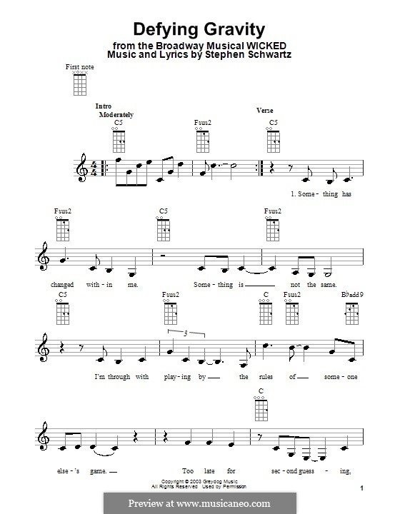 Defying Gravity (from the Broadway Musical Wicked): For ukulele by Stephen Schwartz