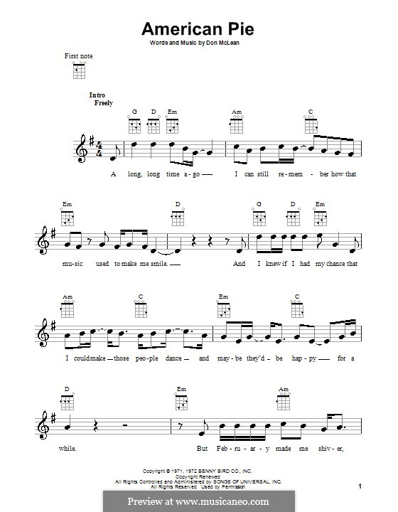 American Pie (Madonna): For ukulele by Don McLean