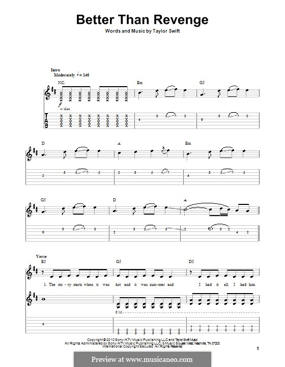 Better Than Revenge By T Swift Sheet Music On Musicaneo
