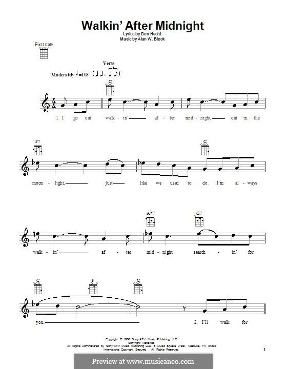 Walkin' After Midnight (Patsy Cline): For ukulele by Alan W. Block