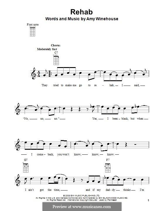 Rehab: For ukulele by Amy Winehouse