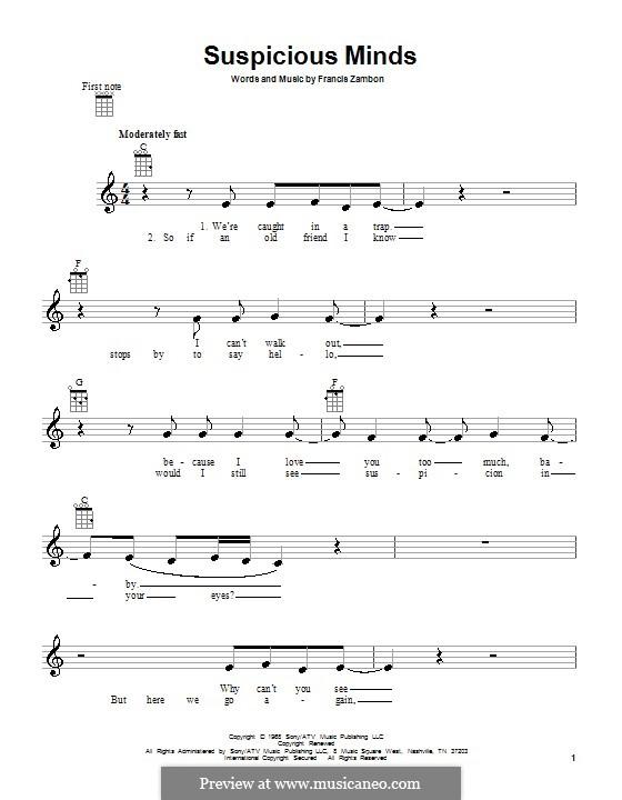 Suspicious Minds (Elvis Presley): For ukulele by Francis Zambon