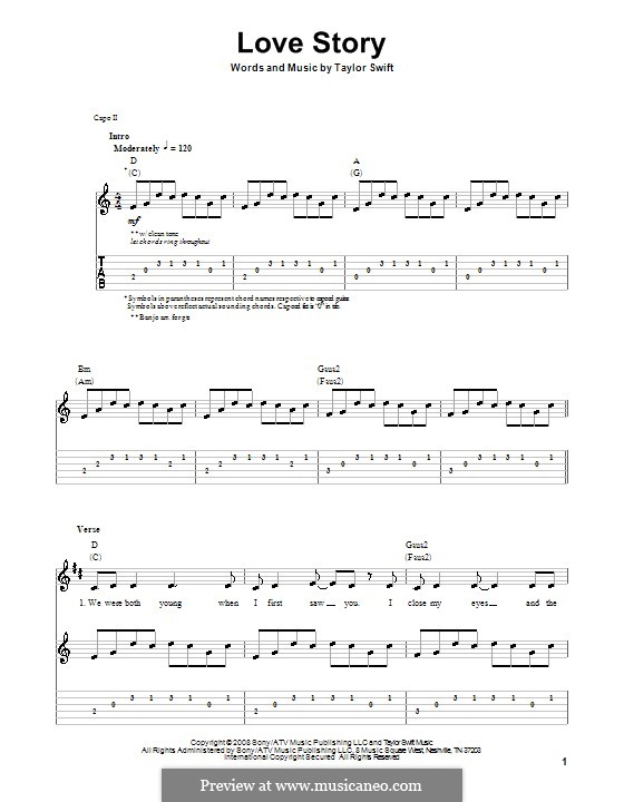 Love Story: For guitar with tab by Taylor Swift