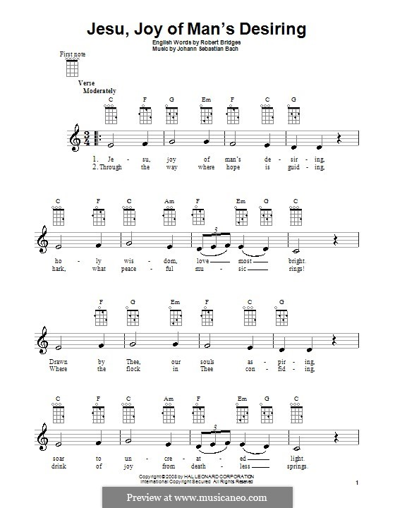 Jesu, Joy of Man's Desiring (Printable Scores): For ukulele by Johann Sebastian Bach